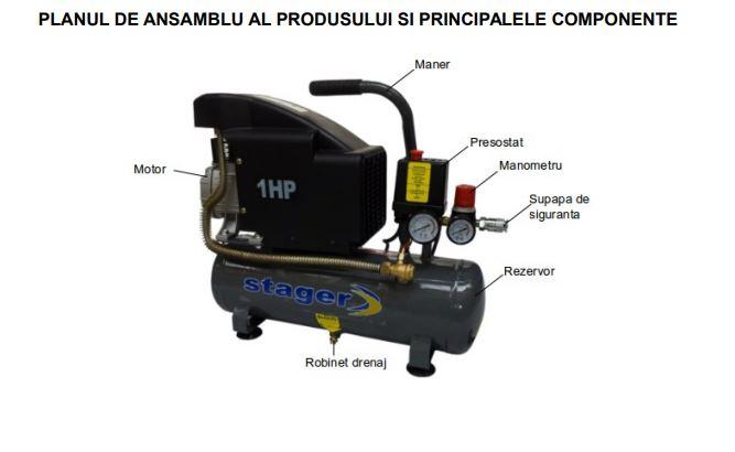 Compresor de aer Stager HM1010K 6L 8BAR. Poza 14482