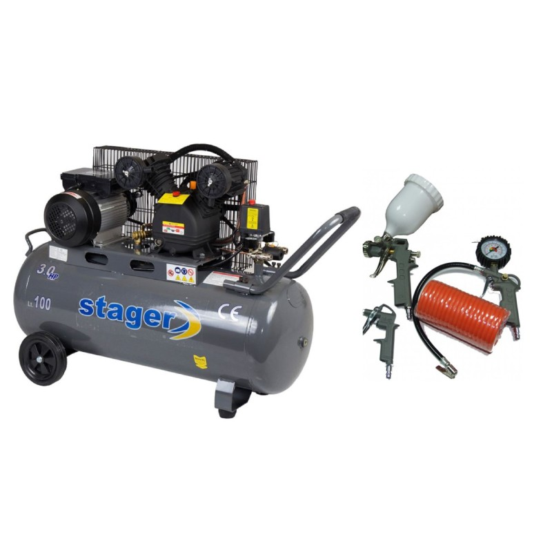 Poza Pachet compresor de aer Stager HM-V-0.25/100 100L 8 BAR cukit 4 accesorii compresor. Poza 17070