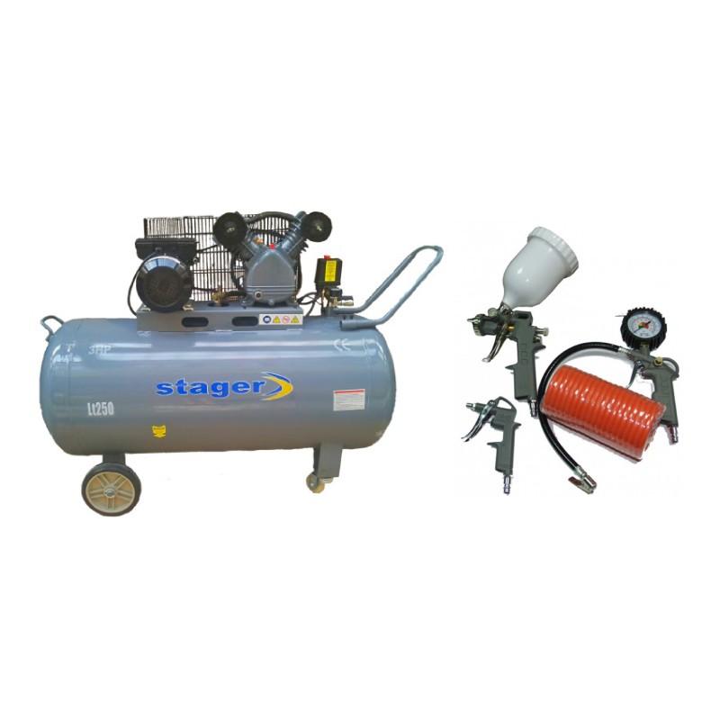 Poza Pachet compresor de aer Stager HM-V-0.25/250 250L 8 BAR cu kit 4 accesorii compresor. Poza 17079