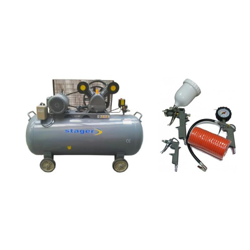 Poza Pachet compresor de aer Stager HM-V-0.6/370L 370L 8BAR cu kit 4 accesorii compresor. Poza 17089
