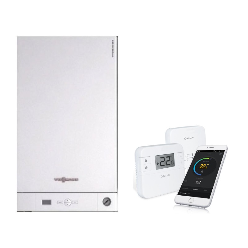 Poza Pachet centrala termica Viessmann Vitodens 050 W 33 kW si cronotermostat de ambient Salus RT310i, control prin internet. Poza 17303