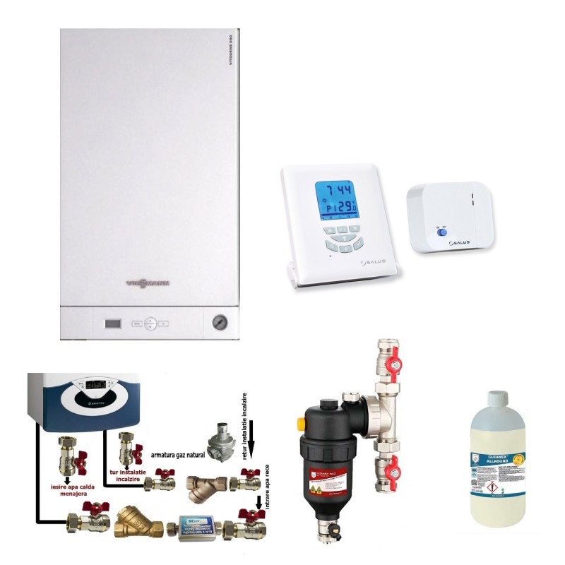 Poza Pachet centrala termica Viessmann Vitodens 050 W 24 kW, cronotermostat Salus T105RF, pachet instalare si filtru antimagnetita Chemstal Cleanex HF1 3/4. Poza 17435