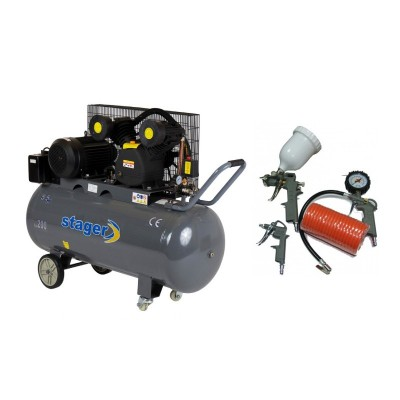 Poza Pachet compresor de aer Stager HM-V-0.6/200 200L 8BAR cu kit 4 accesorii compresor. Poza 17084