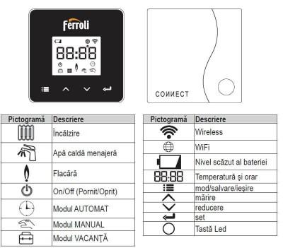 Poza Cronotermostat de ambient cu radio frecventa Ferroli Connect WI-FI. Poza 20361