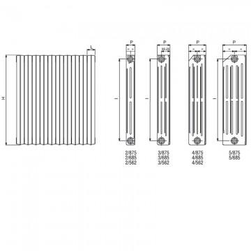 Poza Dimensiuni,-racorduri-si-mase-pentru-Calorifer-fonta-Tahiti-