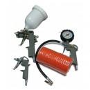 Compresor de aer Stager HM3100V 3CP, 100L, 8BAR kit 4 accesorii aer comprimat ce cuprinde pistol vopsit, pistol suflat, pistol manometru, furtun spiralat